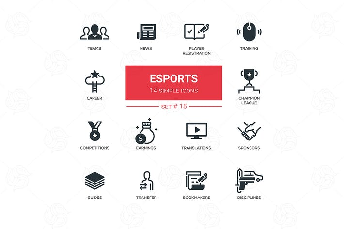 Thumbnail for eSports - simple thin line design icons