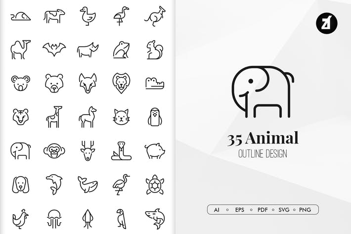 Thumbnail for 35 Animal elements in minimal design