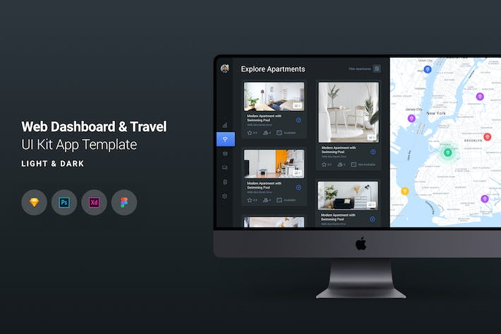 Thumbnail for Web Dashboard & Travel UI Kit App Template 5