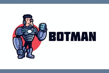 Cartoon Friendly Humanoid Cyborg Mascot Logo
