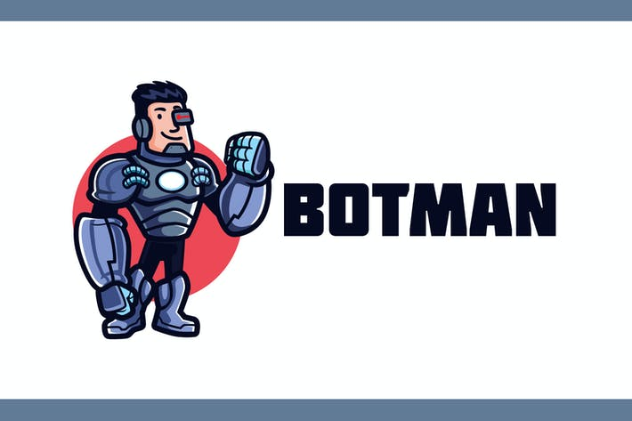 Thumbnail for Cartoon Friendly Humanoid Cyborg Mascot Logo