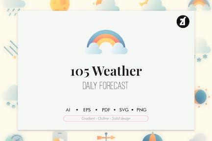 105 Wettervorhersage-Elemente Icon Pack