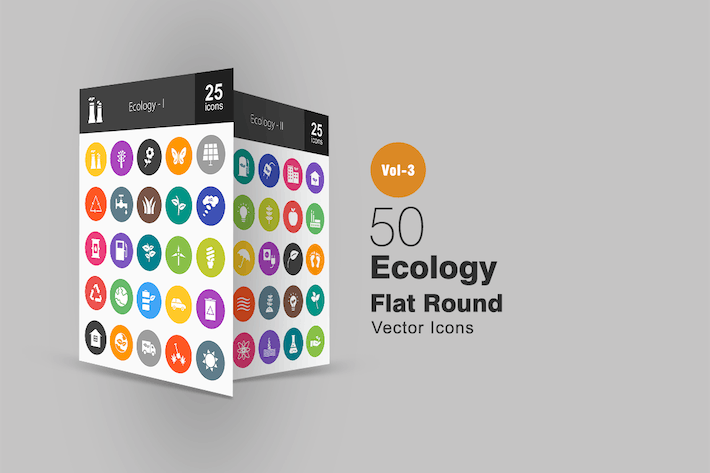Thumbnail for 50 Ecology Flat Round Icons