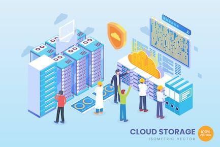 Isometric Cloud Storage Vector Concept