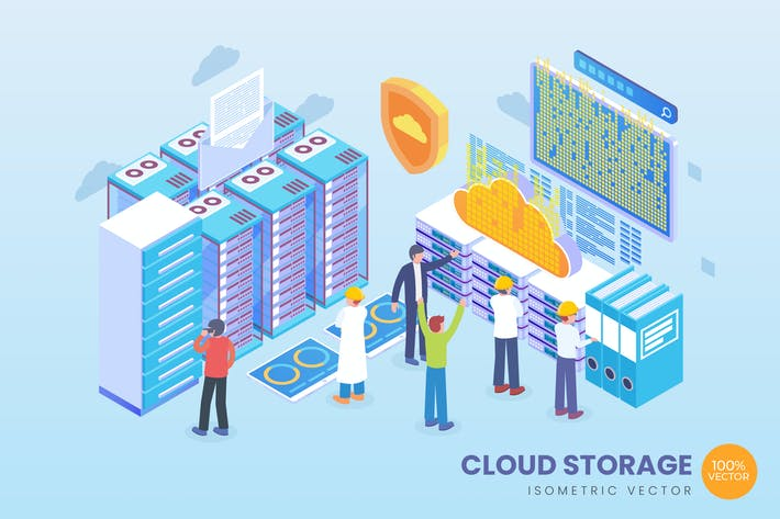 Thumbnail for Isometric Cloud Storage Vector Concept