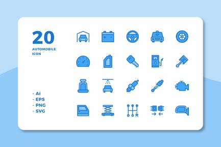 20 Automobile Icons (Lineal Color)