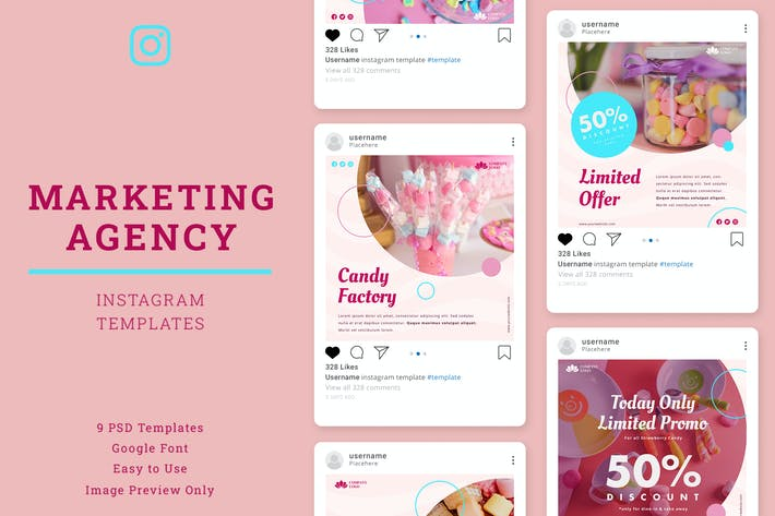 Thumbnail for Candy Shop Instagram Post Template