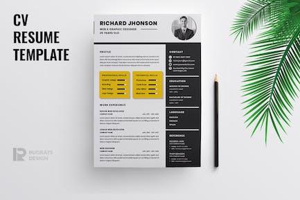 Minimalist CV  Resume R42 Template