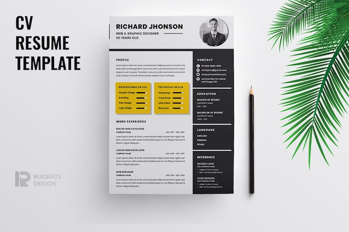 Cover Image For Minimalist CV  Resume R42 Template