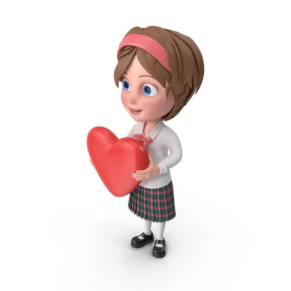 Cartoon Mädchen mit Herz