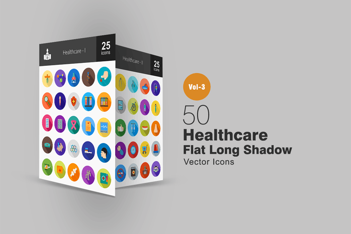 Thumbnail for 50 Healthcare Flat Shadowed Icons