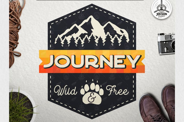 Thumbnail for Vintage Journey Logo / Retro Mountain Camp Badge