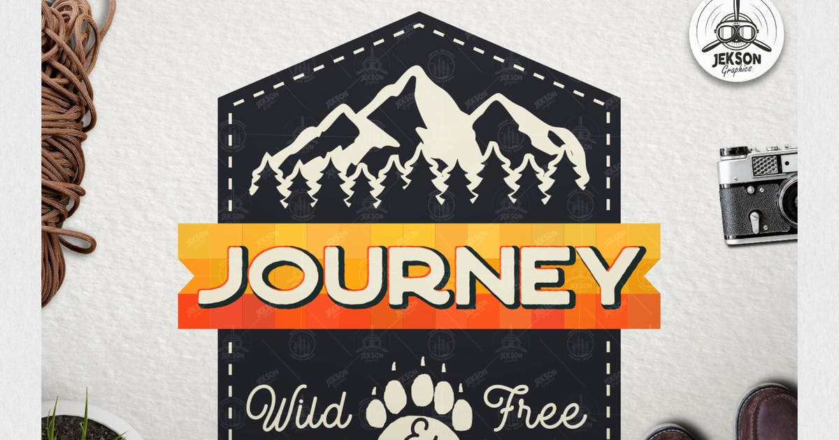 Download Vintage Journey Logo / Retro Mountain Camp Badge by JeksonJS