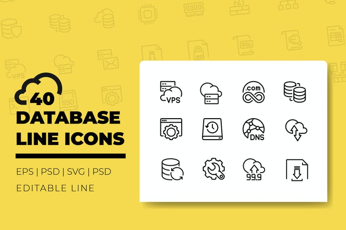 Thumbnail for Database Line Icons