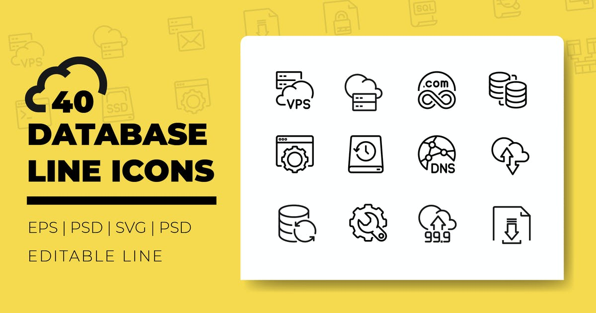 Download Database Line Icons by iconsoul
