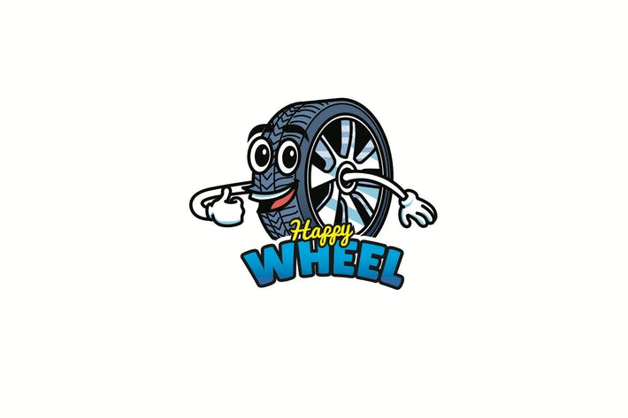 Cover Image For happy wheel - Mascot Logo