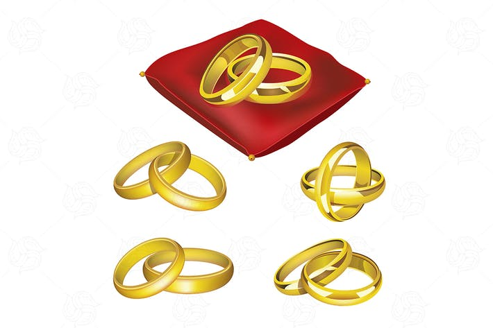 Thumbnail for Свадебные кольца - реалистичный вектор набор объектов
