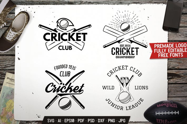 Thumbnail for Cricket Logos Templates Bundle Vector Sport Badges