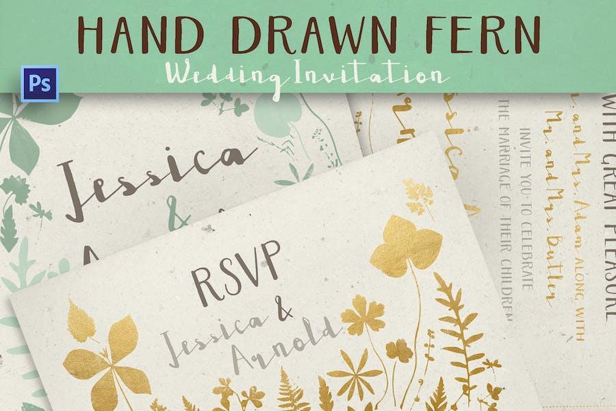 Hand Drawn Fern Wedding Invitation