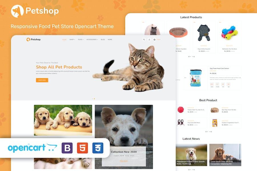 PetShop - Tema OpenCart para tienda de mascotas de alimentos receptivos