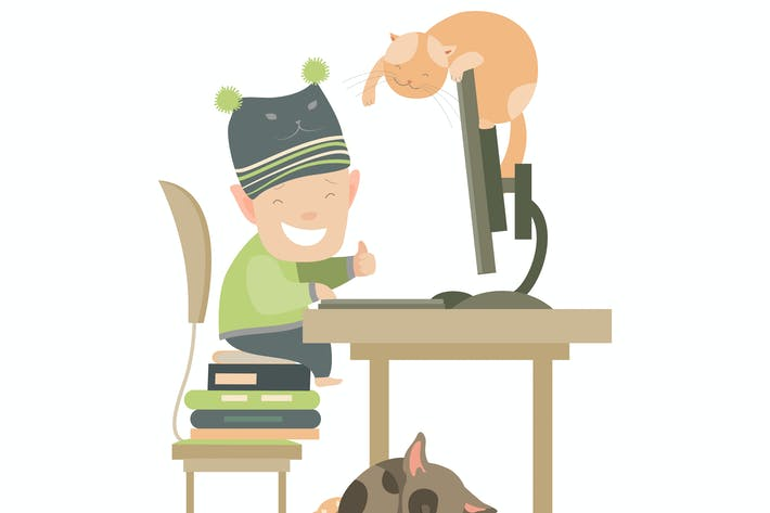 Thumbnail for Little boy sitting at computer. Vector