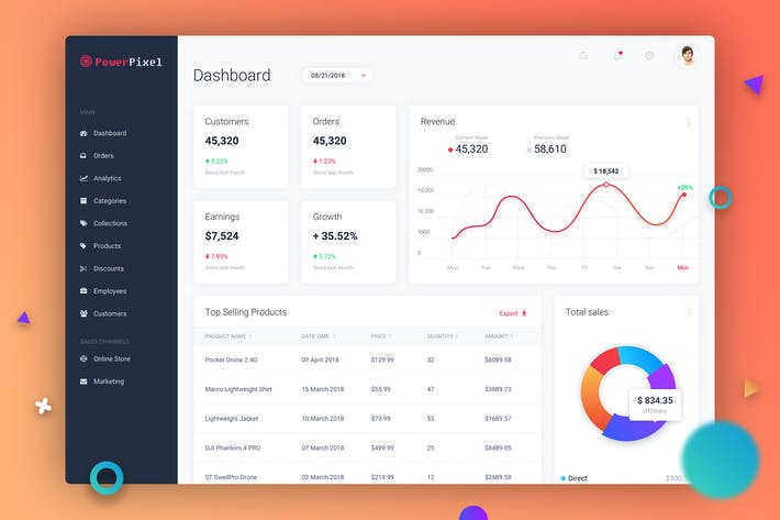 Thumbnail for Dashboard UI Concept - Light Theme