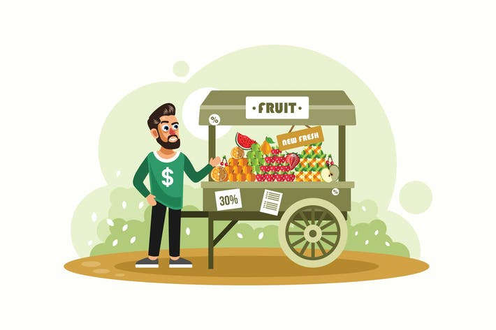 Thumbnail for Street fruit seller Vector Illustration