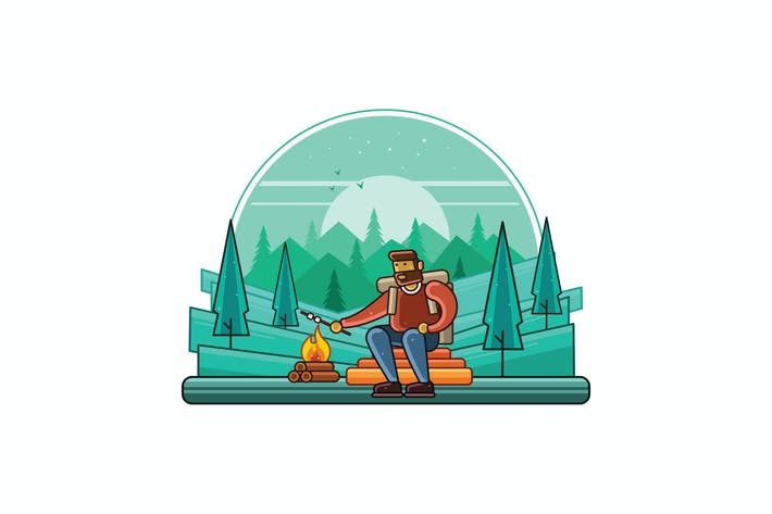 Thumbnail for Camping Outdoor at Night Graphics Line Illustrator