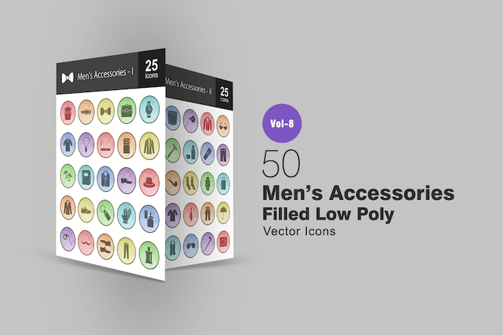 Thumbnail for 50 Men's Accessories Filled Low Poly Icons