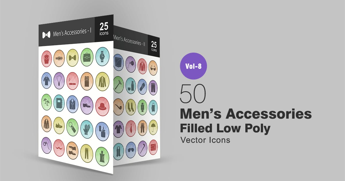 Download 50 Men's Accessories Filled Low Poly Icons by IconBunny