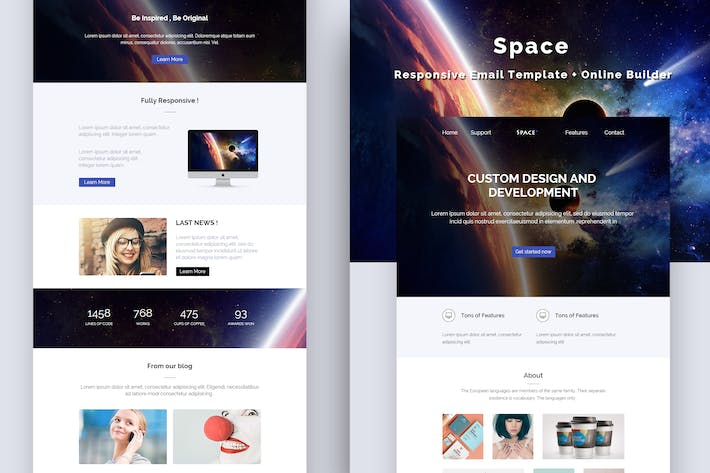 Thumbnail for Space - Responsive Email Template + Online Builder