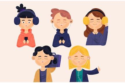 People Listening Music Illustration