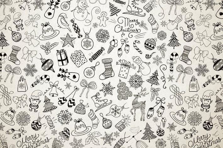 Thumbnail for Patrón de Doodles de Navidad sin costuras.