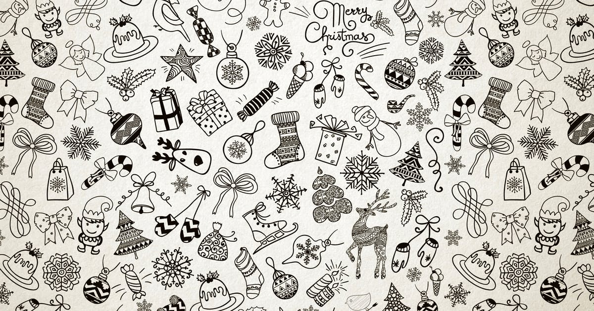 Xmas Doodles Seamless Pattern by helga_helga