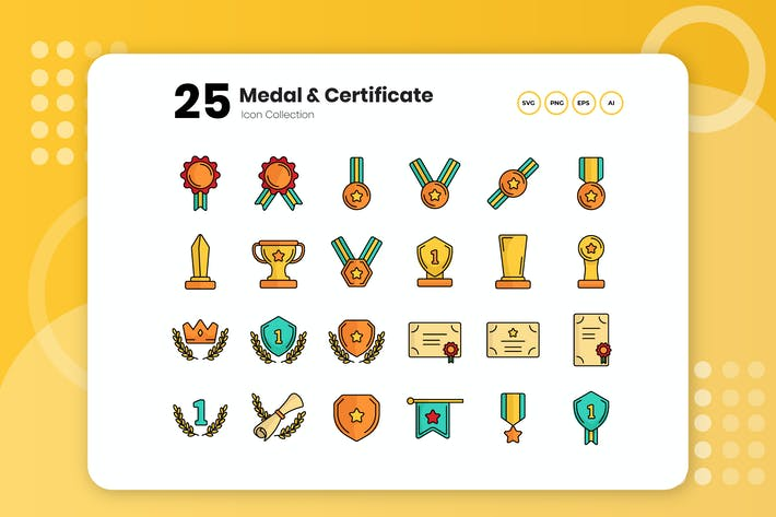 Thumbnail for 25 Medal & Certificate Flat Icon Set
