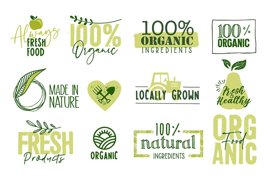 Organic Food Signs and Labels Collection