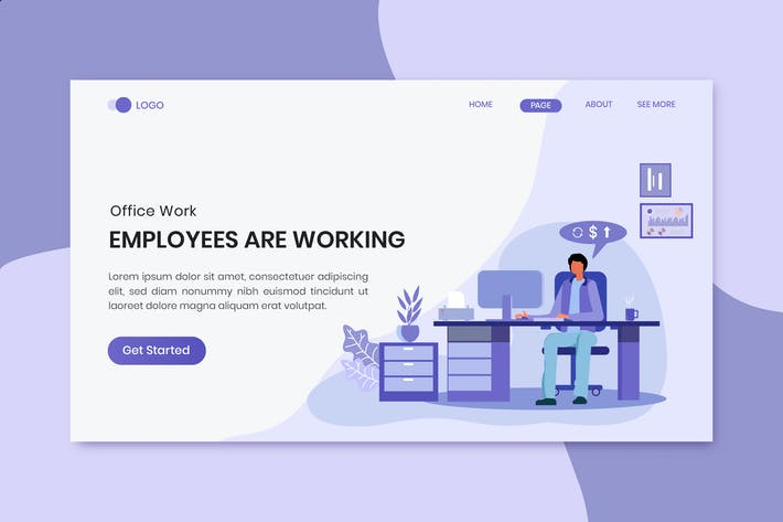 Thumbnail for Employee Are Working Office Worker Landing Page