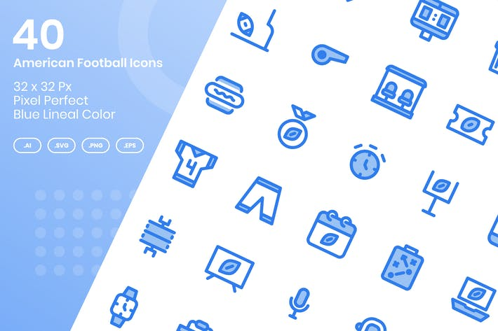 Thumbnail for 40 American Football Icons Set - Blue Lineal Color