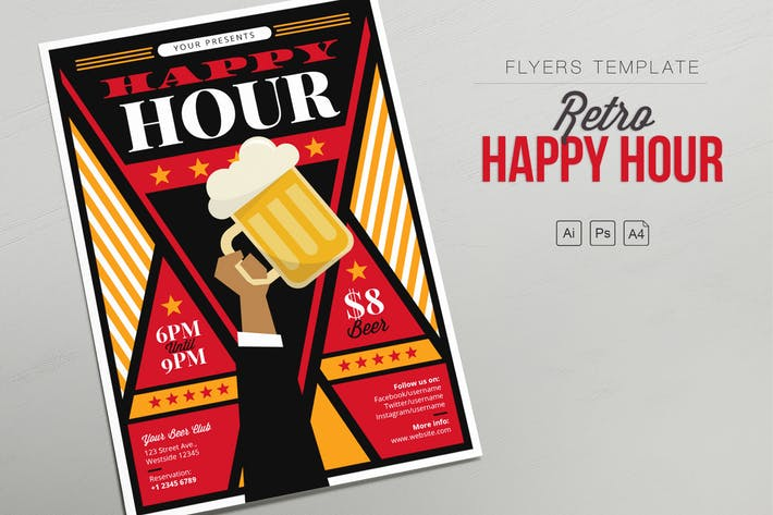 Thumbnail for Retro Happy Hour - Hand Beer - Flyers