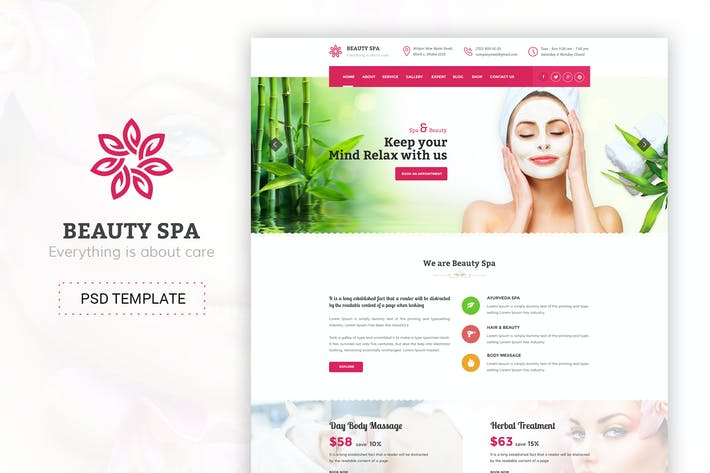 Cover Image For Beauty Spa - Beauty Salon & Spa PSD Template