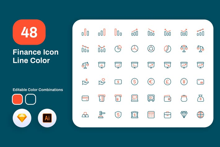Thumbnail for Finance Icon Line Color