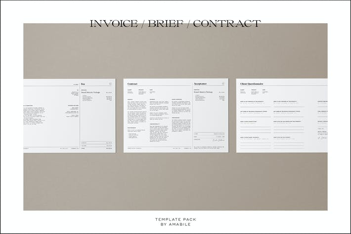 Thumbnail for Invoice/Brief/Contract Template Pack