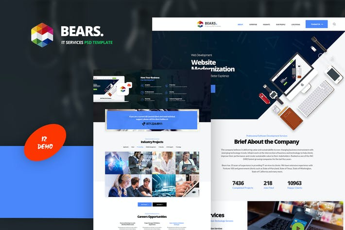 Thumbnail for Bear's - IT Services PSD Template