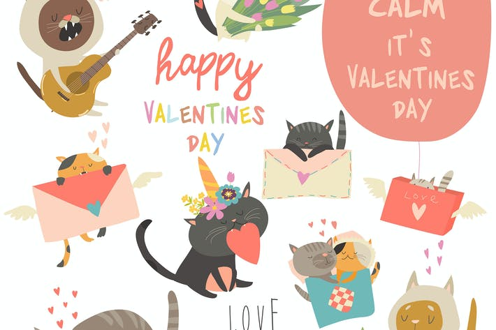Thumbnail for Set of vector cartoon characters cats in love them
