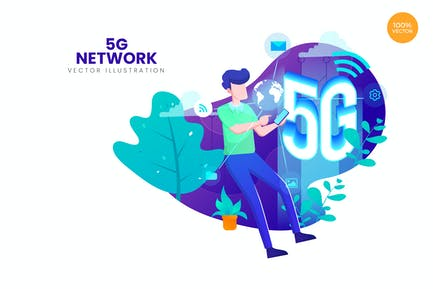 5G Network Vector Illustration Concept