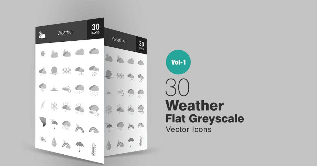 30 Weather Greyscale Icons by IconBunny