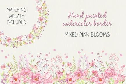 Watercolor Border of Mixed Pink Blooms