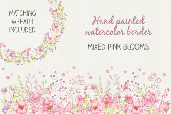 Thumbnail for Watercolor Border of Mixed Pink Blooms