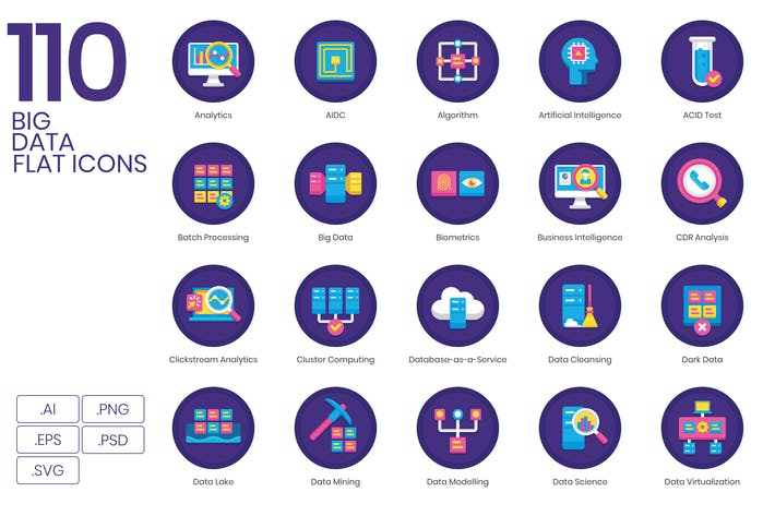 Thumbnail for 110 Big Data Icons | Orchid Series