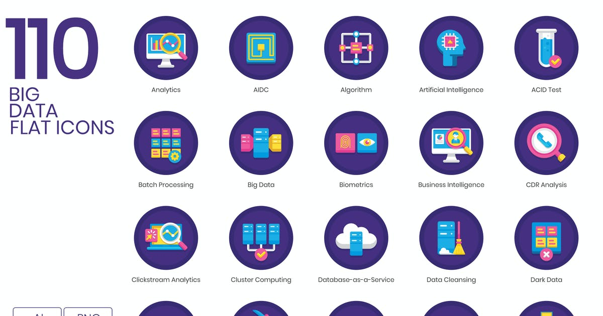 Download 110 Big Data Icons   Orchid Series by Krafted